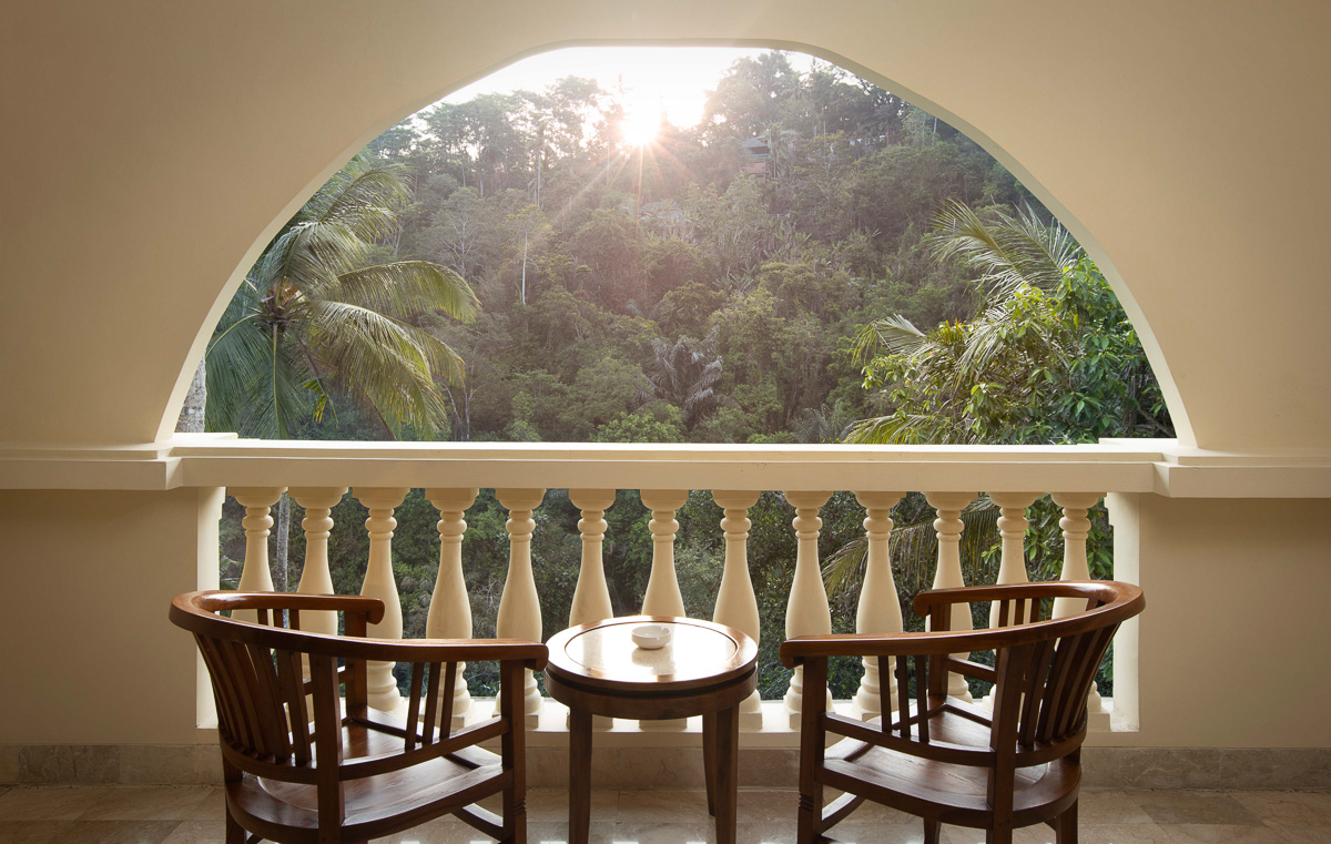 deluxe room balcony at ayung resort ubud